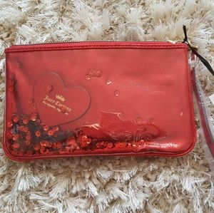 Bright red Juicy Couture wristlet/wallet